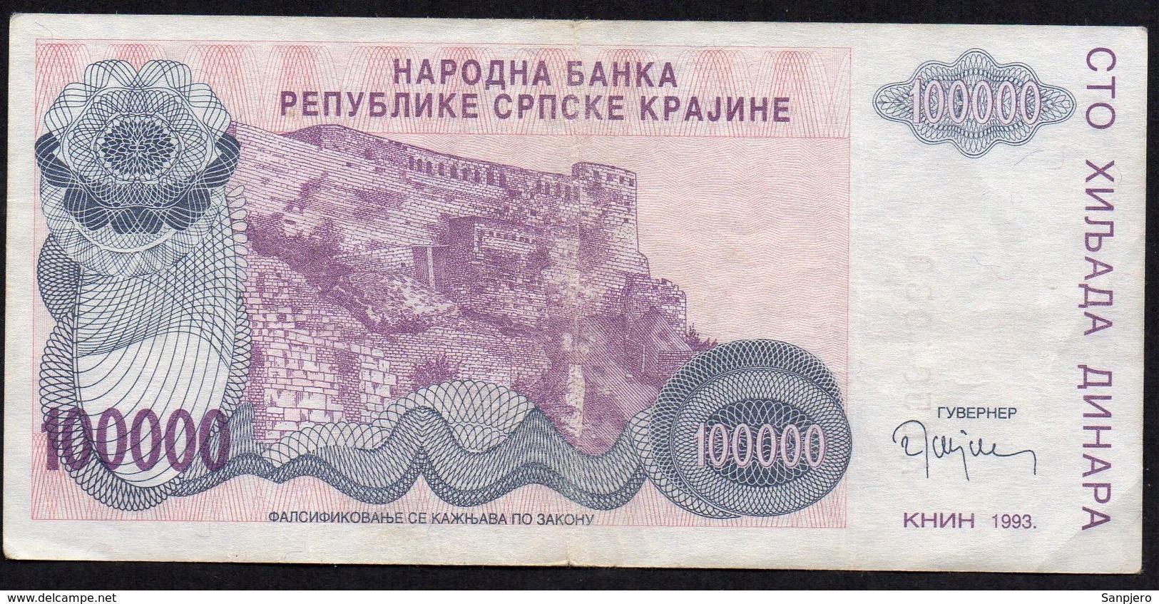 CROATIA OCUPATION 1993. SRPSKA KRAJINA 100.000 Dinara - Croatie