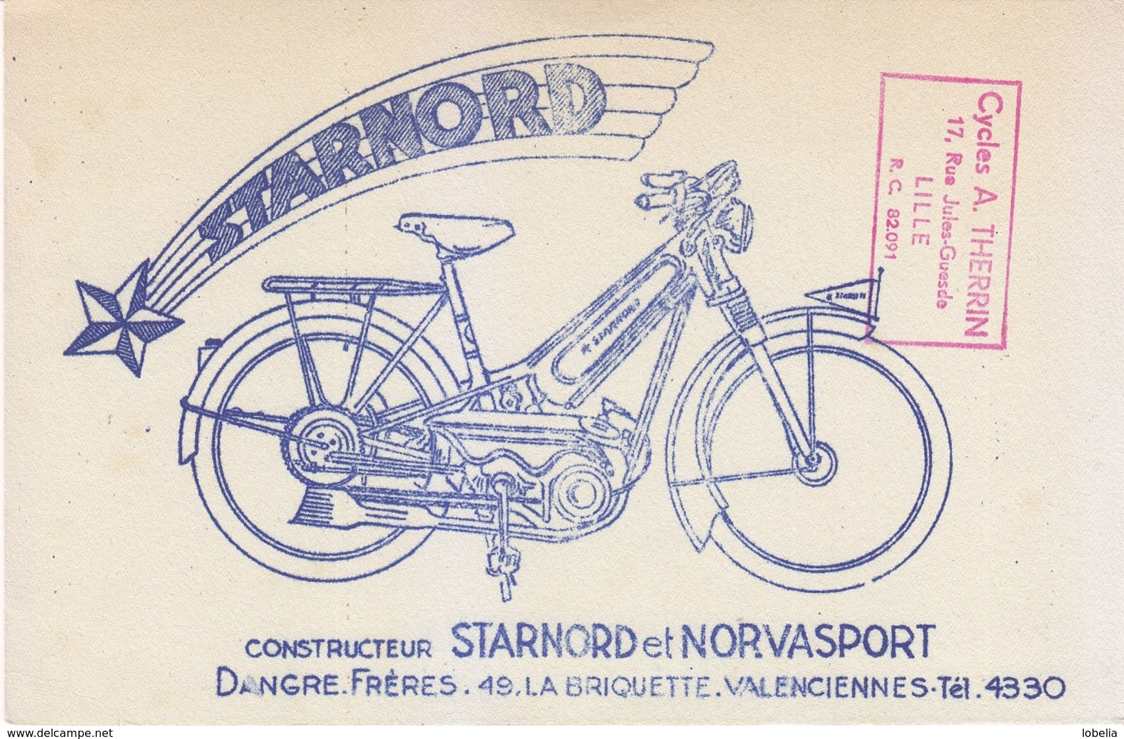 Buvard STARNORD NERVASPORT Dangre Frères Valenciennes, Cachet Cycles A. Therrin Rue Jules Guesde Lille - Moto & Vélo