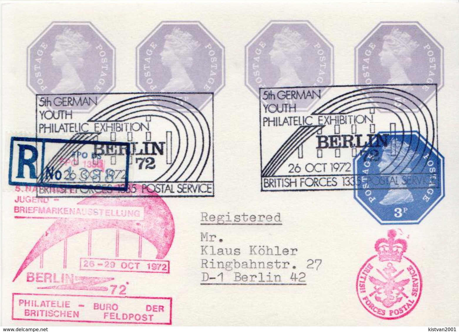 Postal History Cover: GB Registered Postal Stationery Card With 3P And 4 X 5P Stamps From Berlin British Forces 1335 Ps - Postal Stationery