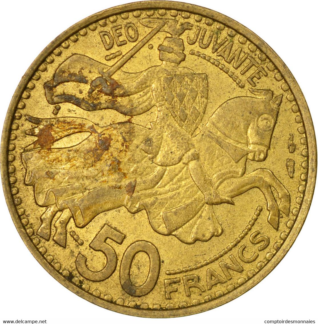 Monnaie, Monaco, Rainier III, 50 Francs, Cinquante, 1950, TB+, Aluminum-Bronze - Monaco
