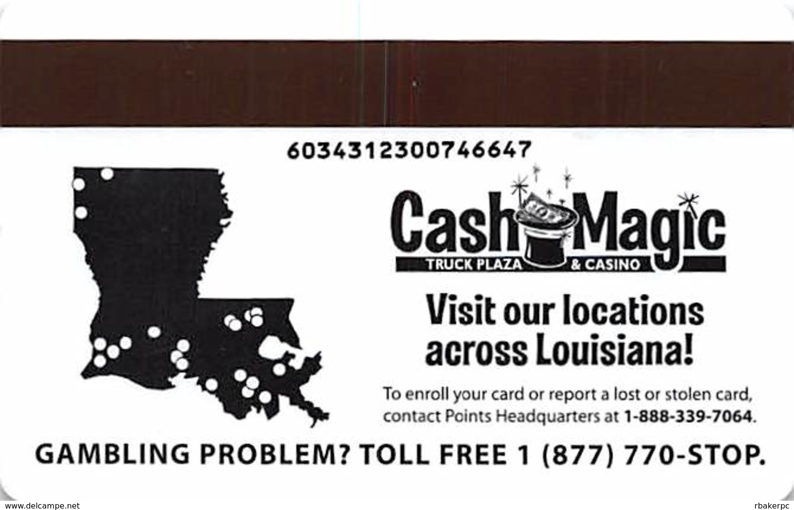 Cash Magic Truck Plazas & Casinos - Various Cities In Louisana - Slot Card - Different Variations Of Text On Back - Casino Cards