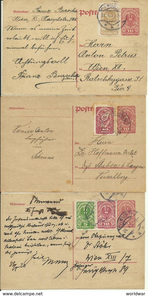 1920   3 X 10 Heller Postkarten + Zusatzfrankatur Nach U.a. Stuben - Entiers Postaux