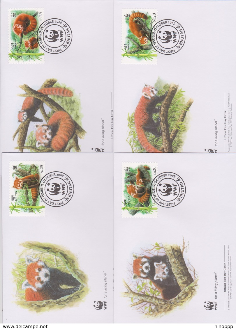 World Wide Fund For Nature 2009 Bhutan- Red Panda ,Set 4 Official First Day Covers - FDC