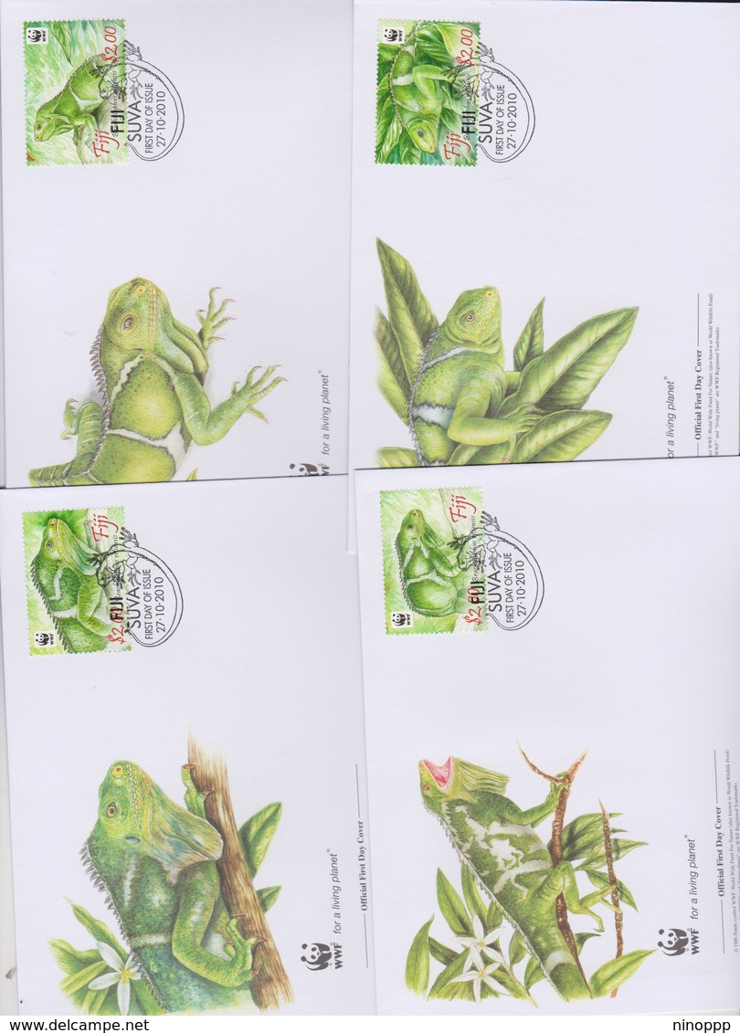 World Wide Fund For Nature 2009 Fiji - Brachylophus Urtiensis ,Set 4 Official First Day Covers - FDC