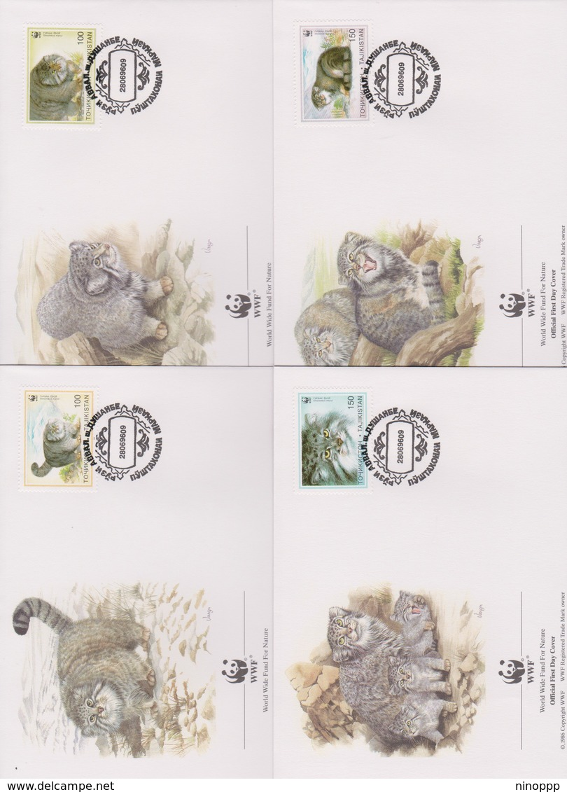 World Wide Fund For Nature 2009 Tajikistan- Otocolubus Manul- ,Set 4 Official First Day Covers - FDC