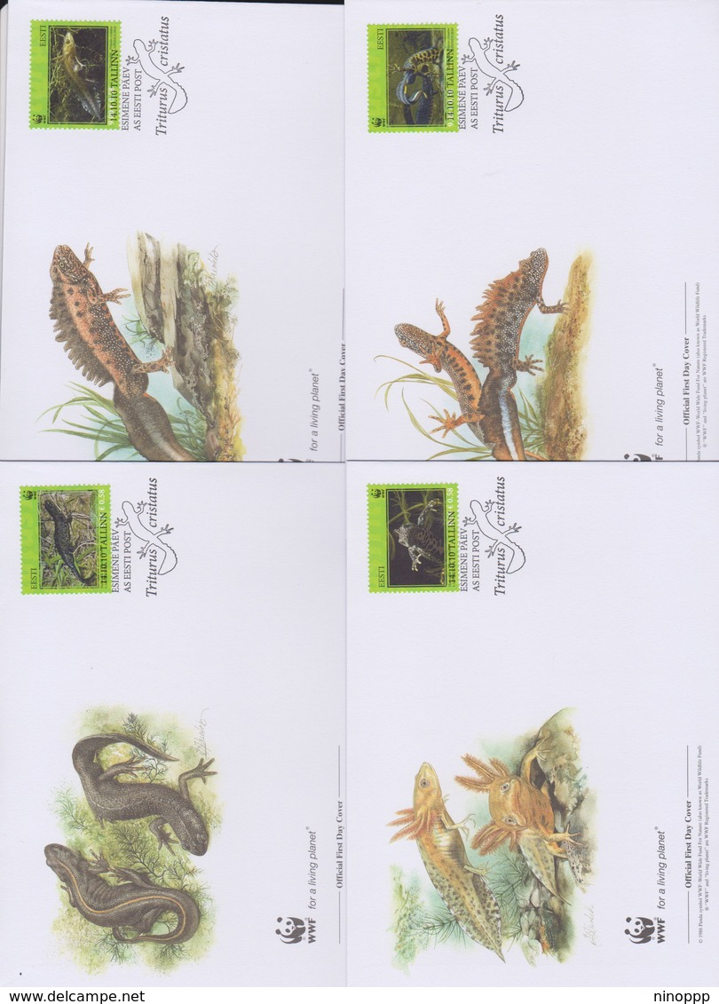 World Wide Fund For Nature  2010 Estonia -triturus Cristatus,Set 4 Official First Day Covers - FDC