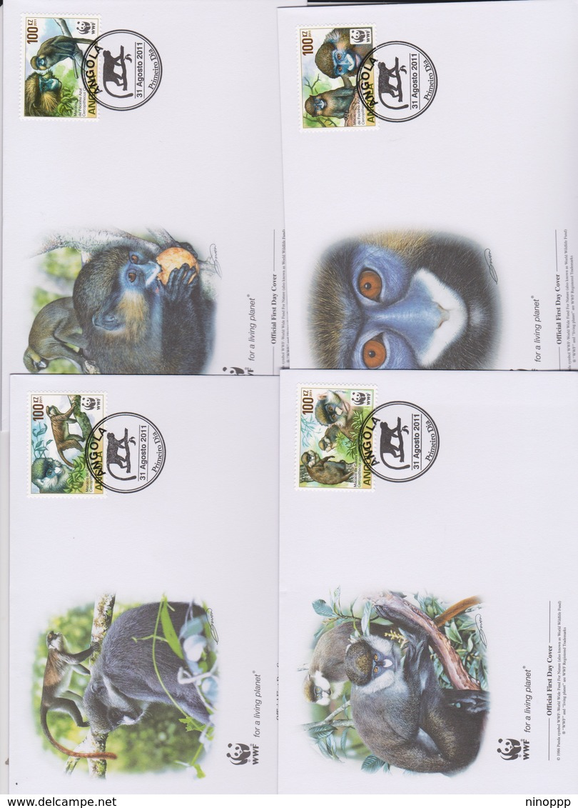 World Wide Fund For Nature  2011 Angola -Macaco ,Set 4 Official First Day Covers - FDC