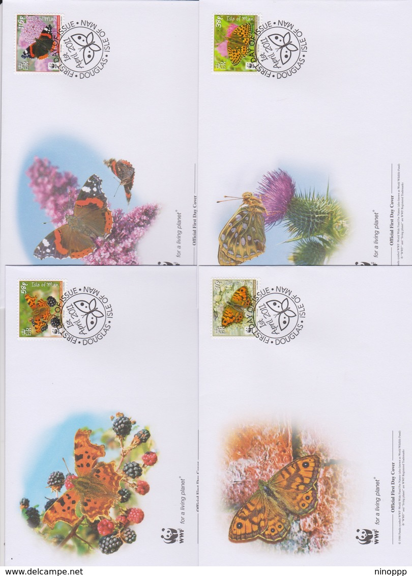World Wide Fund For Nature  2011 Isle Of Man- Butterflies Set 4 Official First Day Covers - FDC