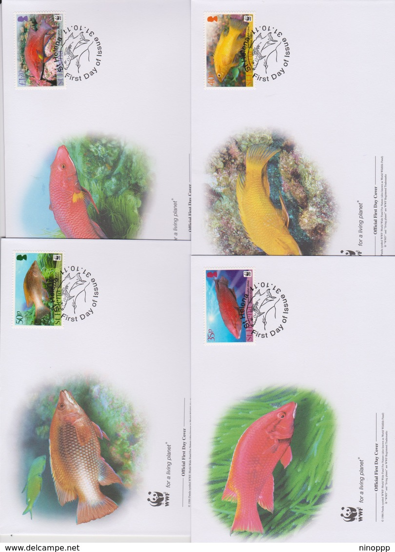 World Wide Fund For Nature  2011 St Helena-Fish  , Set 4 Official First Day Covers - FDC