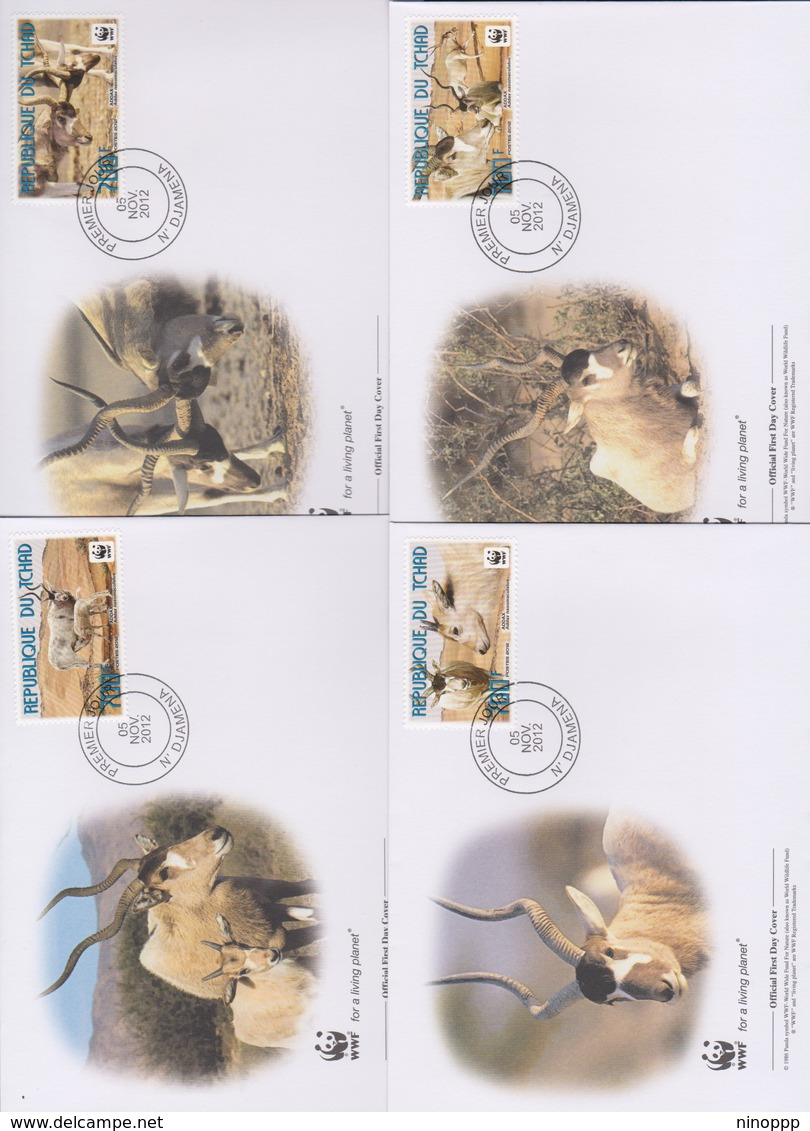 World Wide Fund For Nature  2012 Chad- Addax, Set 4 Official First Day Covers - FDC