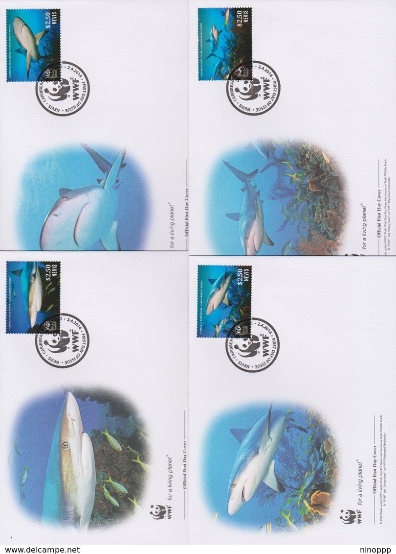 World Wide Fund For Nature 2014 Nevis- Reef Shark  Set 4 Official First Day Covers - FDC