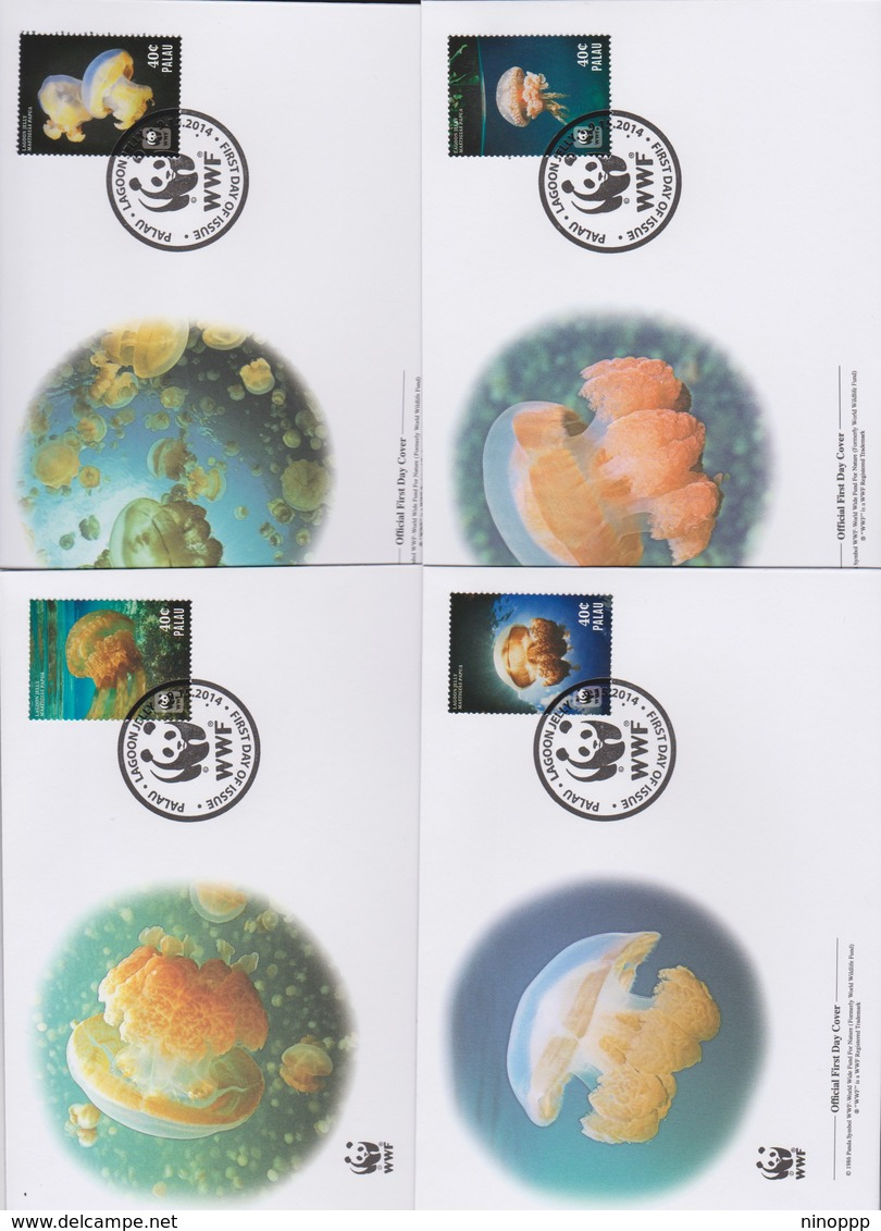 World Wide Fund For Nature 2014 Palau- Lagoon Jellyfish   Set 4 Official First Day Covers - FDC