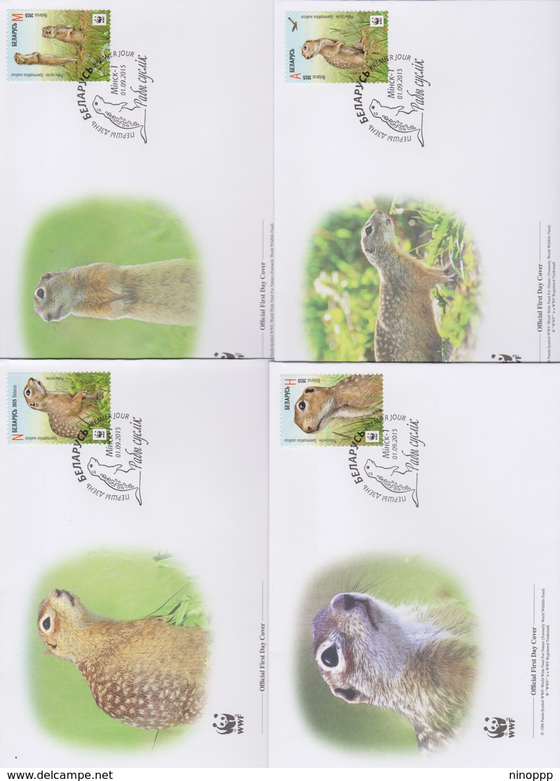 World Wide Fund For Nature 2015 Belarus - Spermophilus Suslicus  Set 4 Official First Day Covers - FDC