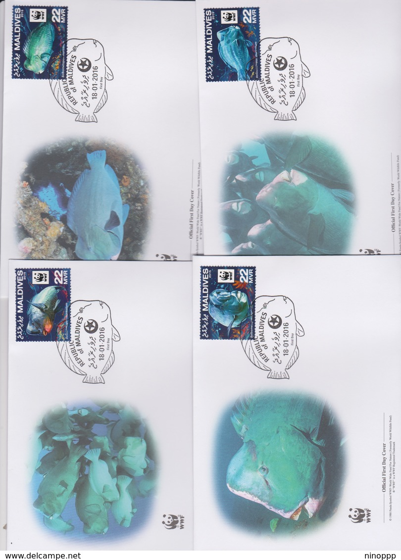 World Wide Fund For Nature 2016 Maldives- Bolbometapor Muricatum Set 4 Official First Day Covers - FDC