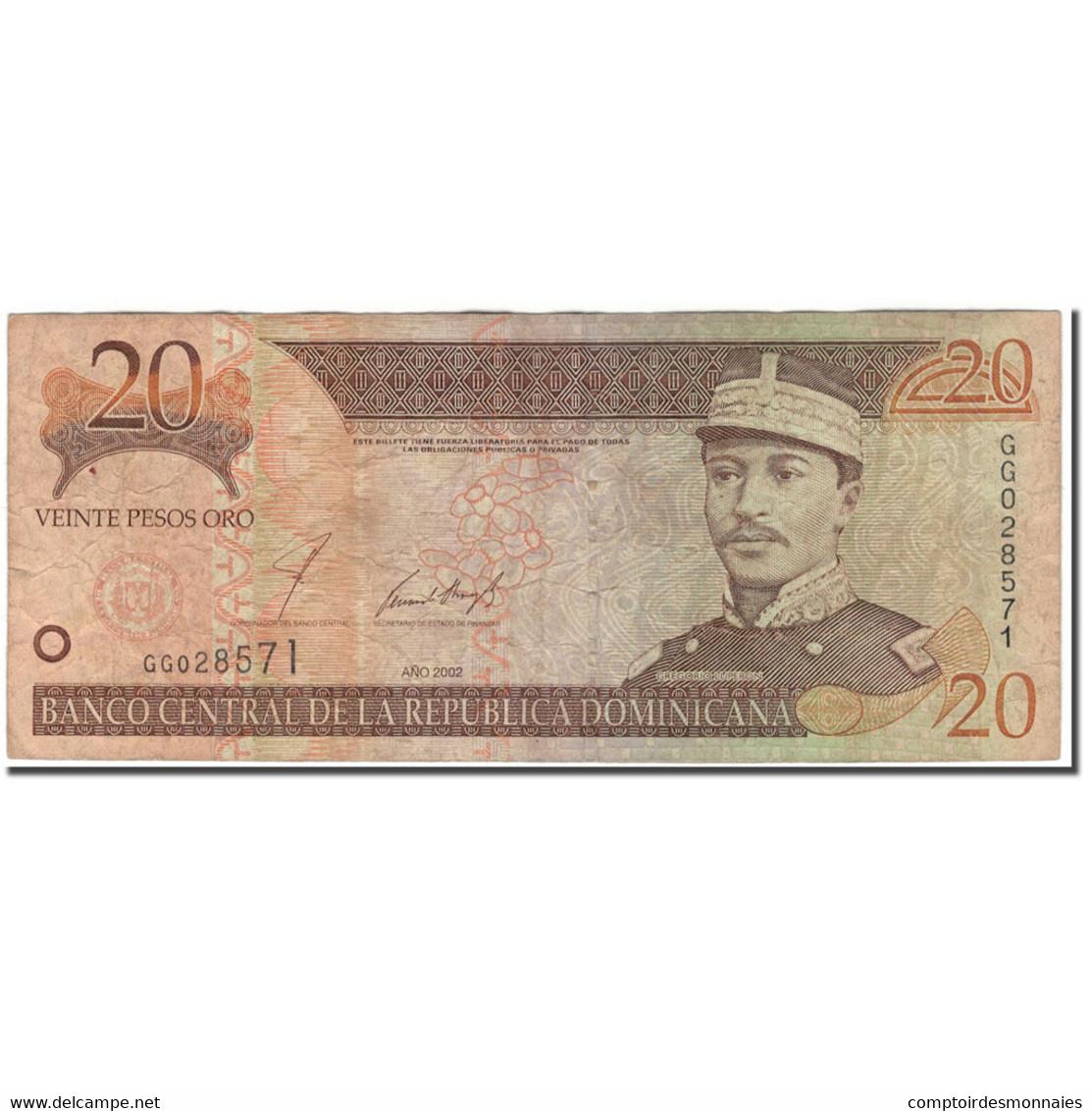 Billet, Dominican Republic, 20 Pesos Oro, 2002, KM:169b, B+ - Dominicaine