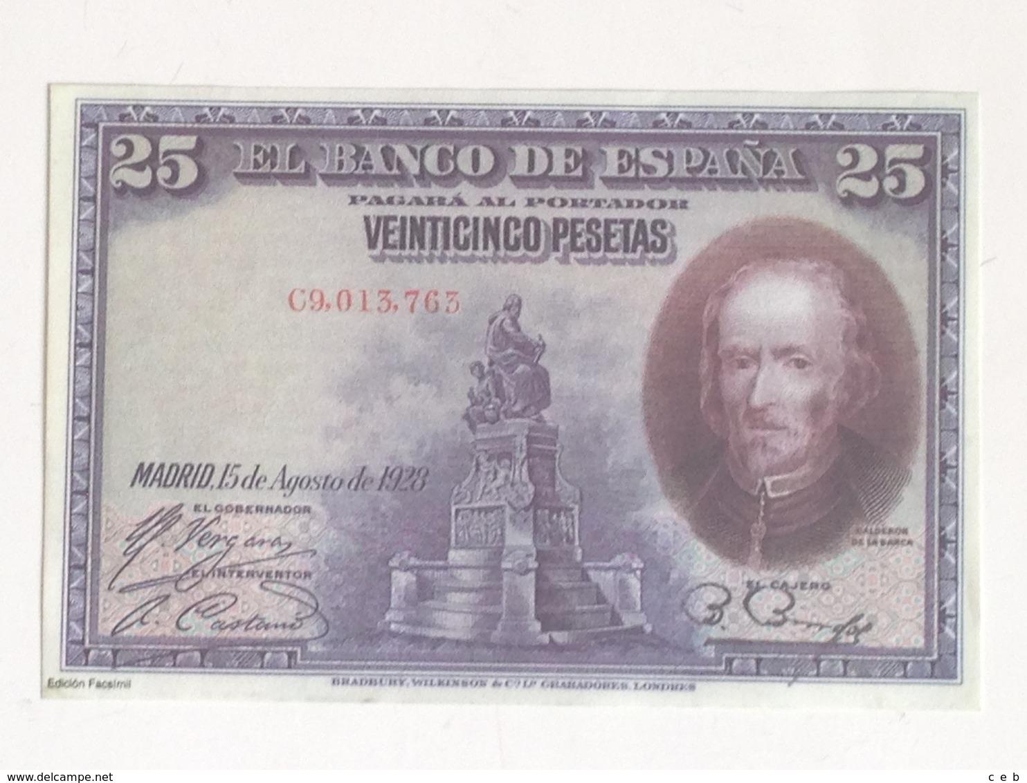 Billete 25 Pesetas. 1928. España. Facsimil. Calderón De La Barca. Sin Circular - [ 1] …-1931 : Eerste Biljeten (Banco De España)