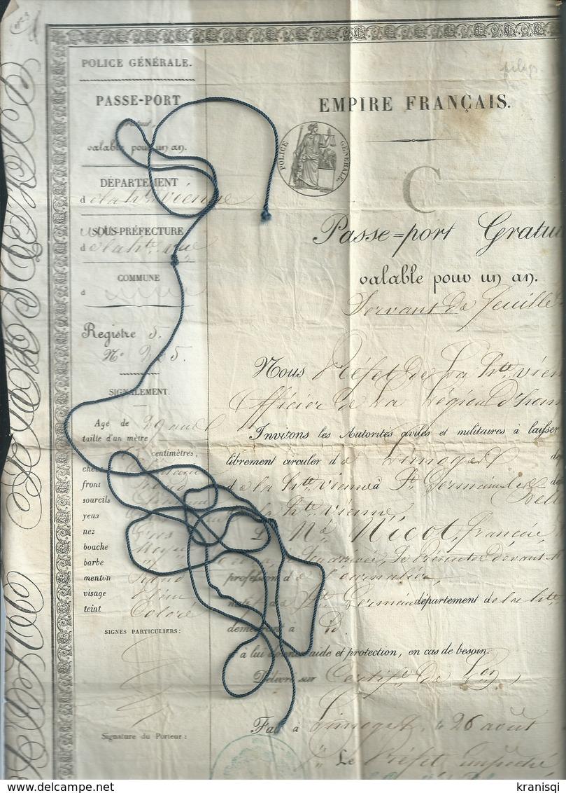 87   Passeport Sous  L'empire Français  ,  Haute Vienne ,  Année 1856 - Titres De Transport