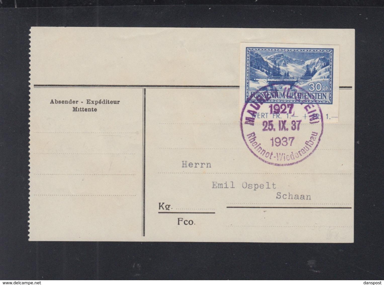 Liechtenstein Adress-Zetter Sonderstempel Mauren Rheinnot 1937 - Liechtenstein