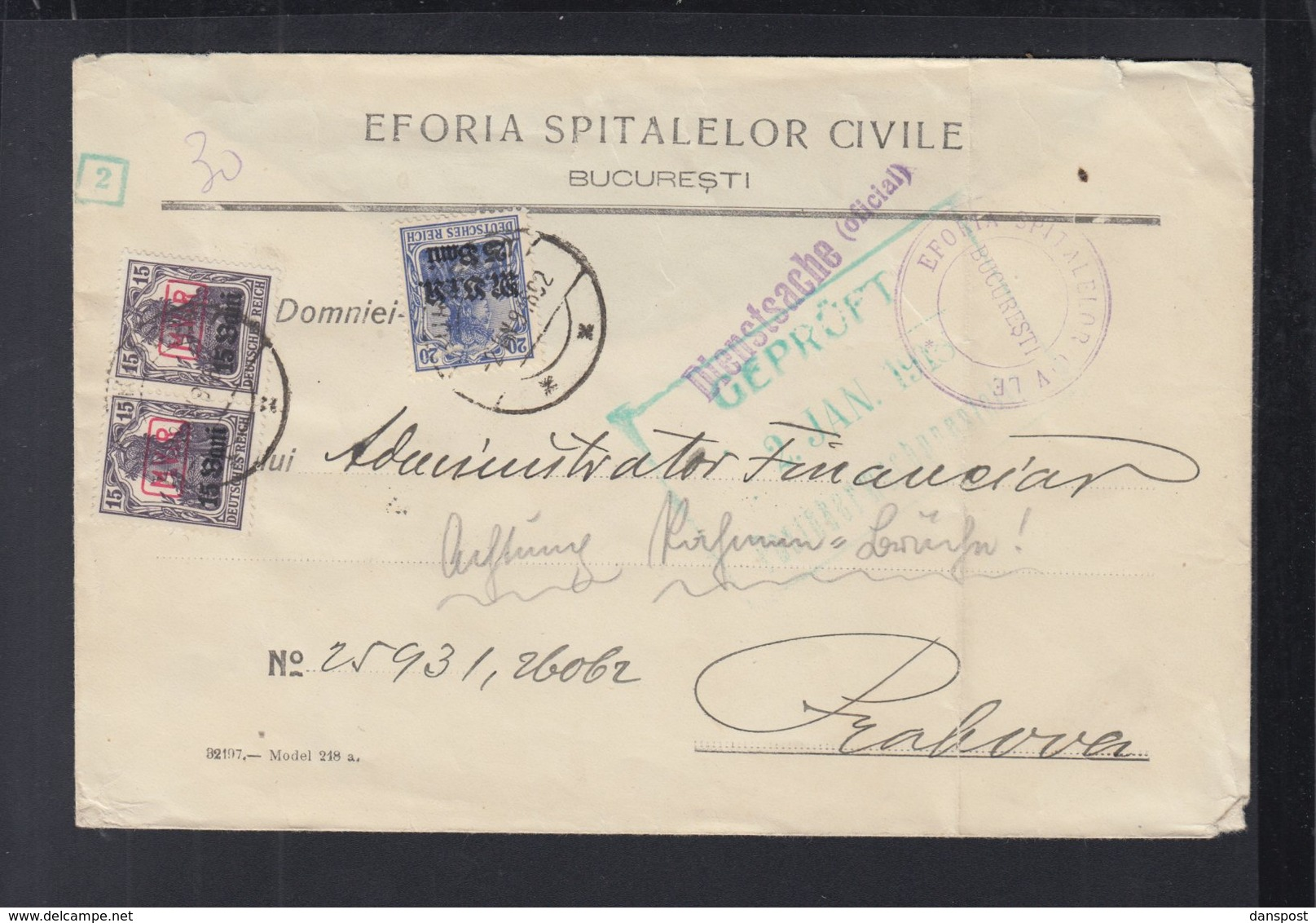 Rumänien Romania Deutsche Besetzung Dienstsache Eforia Spitalelor  1918 - Storia Postale Prima Guerra Mondiale