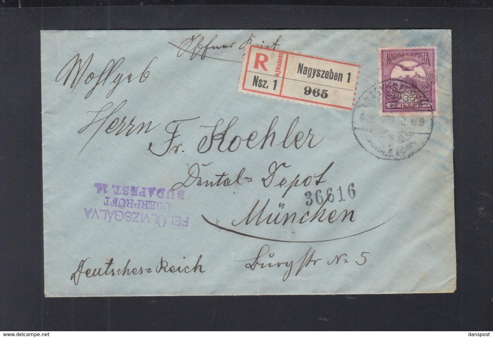 Hungary Registered Cover Nagyszeben Sibiu Romania 1916 To Germany - Ungarn