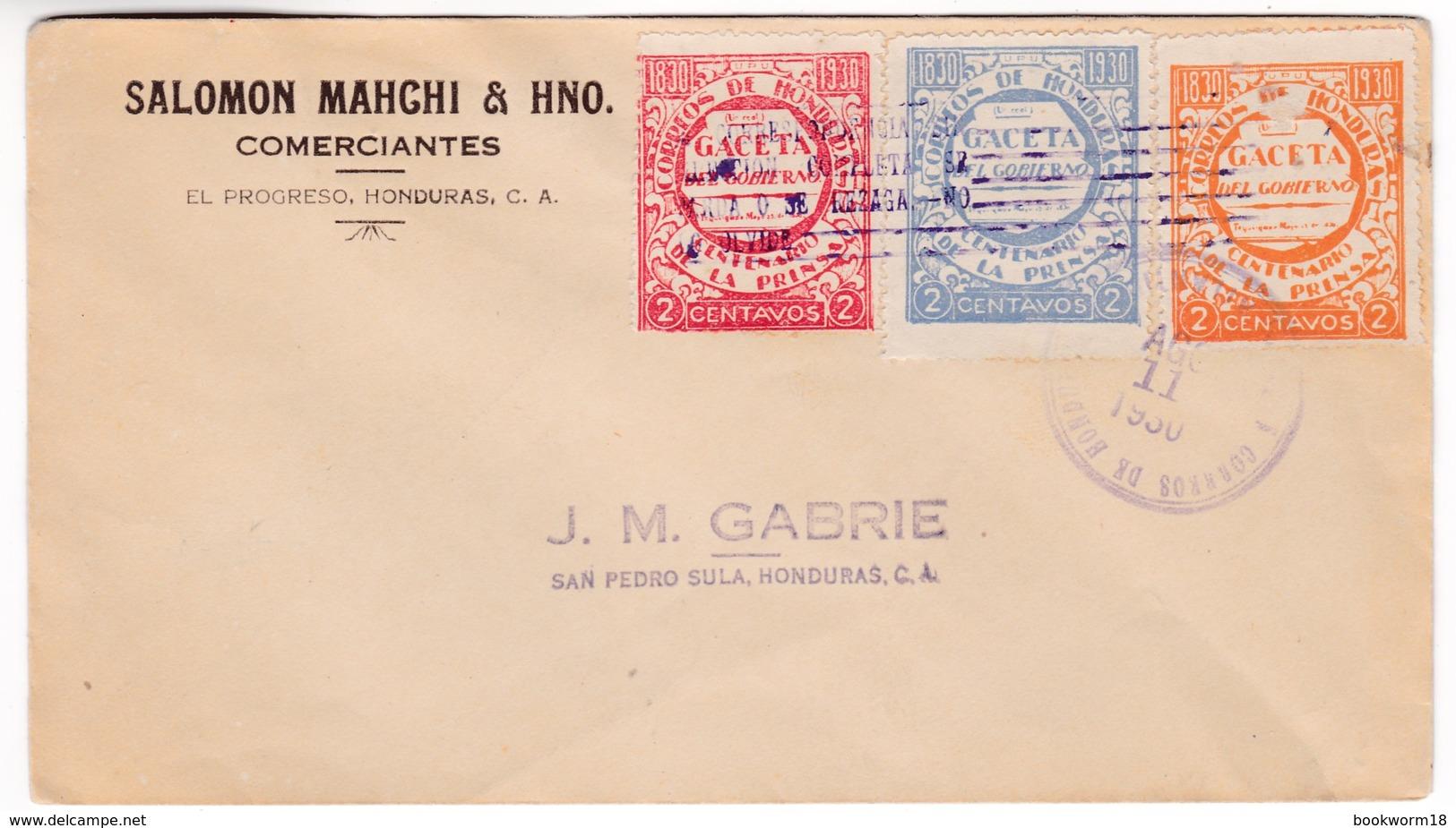 M376 Honduras Lettre 1930 Letter With Gaceta Del Gobierno Stamps - Honduras