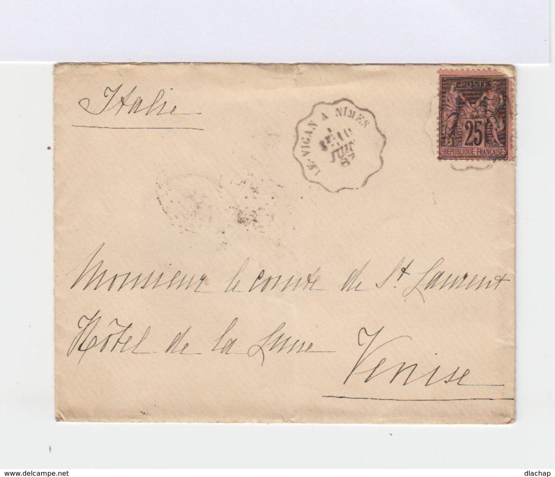Sur Enveloppe Type Sage 25 C. Noir Et Rose. CAD Bord Ondulés Nîmes 1887. CAD Venezia. (728) - Marcophilie (Lettres)