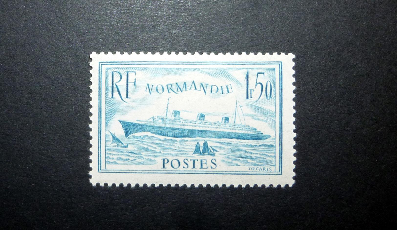 FRANCE 1936 N°300 * (PAQUEBOT NORMANDIE. 1F50 BLEU CLAIR) - France