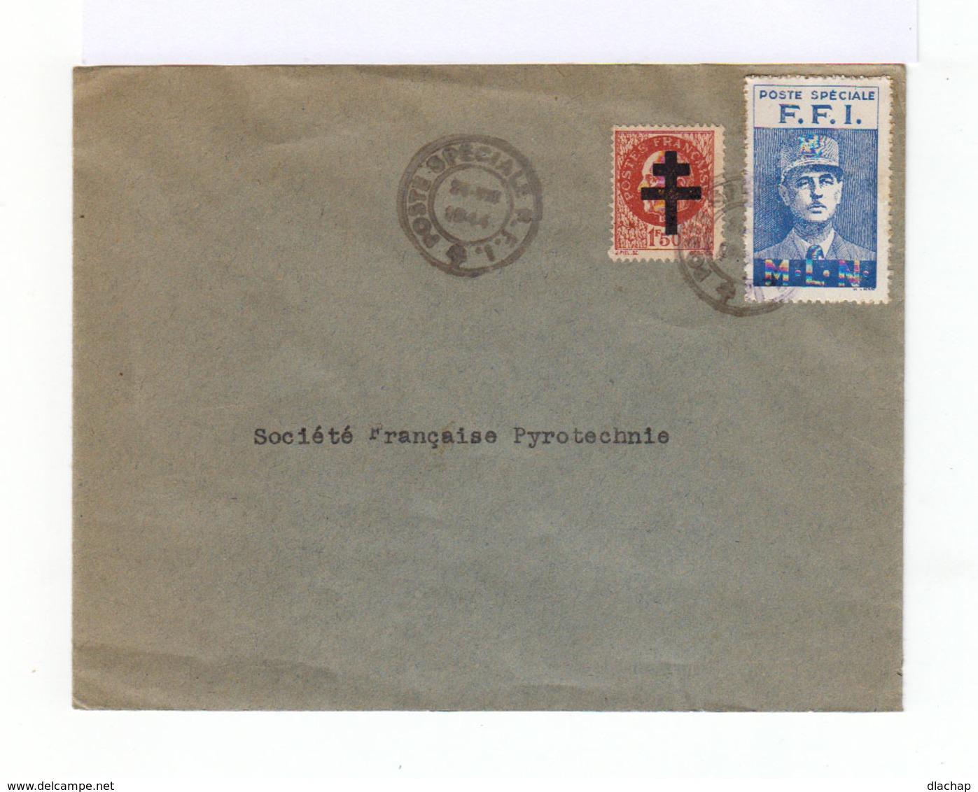 Sur Enveloppe Griffe FFI 24/08/1944. Timbre Pétain Surchargé Croix De Lorraine. Vignette Bleu Effigie De Gaulle. (729) - Libération