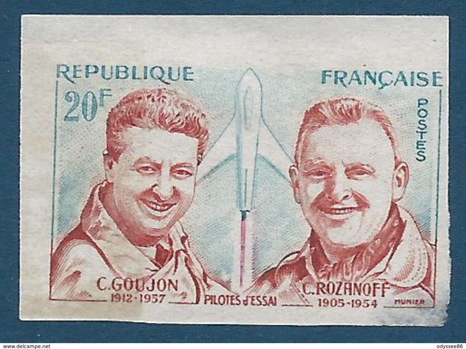 FRANCE 1959 - NON DENTELE - Y.T. N°1213 A - 20 F. - Hommage Aux Pilotes D'essai - Goujon Et Rozanoff - NEUF** - Bon Etat - France
