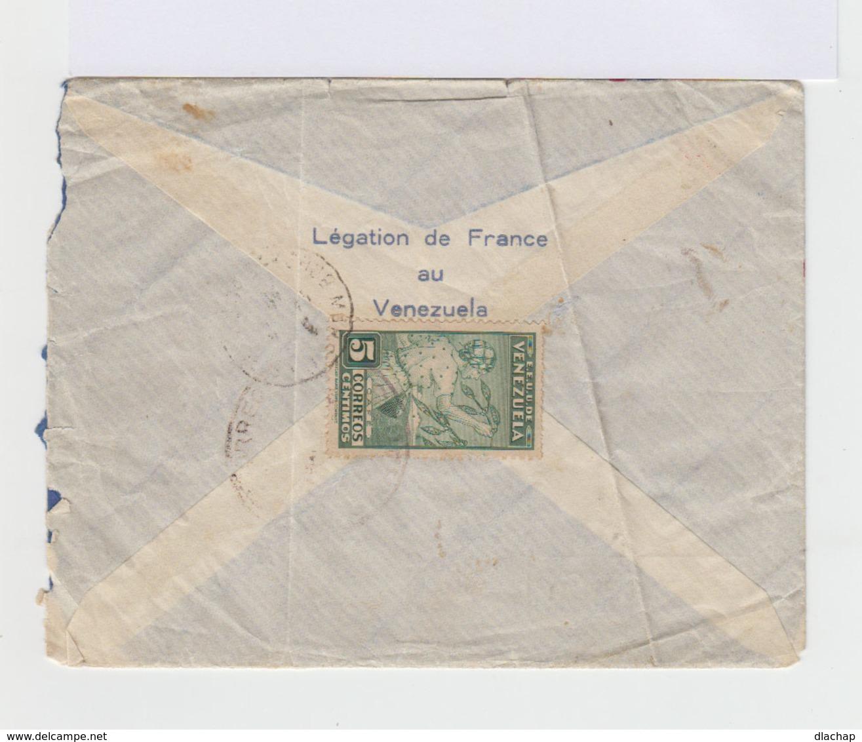 Enveloppe Recommandée Vénèzuela Par Avion. Via Natal. Trois Timbres 1938 Courrier Aérien. Un Timbre Bolivar 37,5 C. (732 - Venezuela