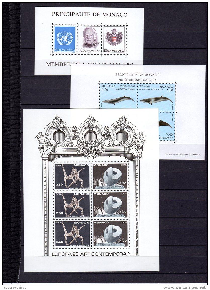 MONACO  Séries Complètes Avec Blocs Et Carnets De 1968 à 1993 ** Cote Yv. Timbres : 2849 + Blocs : 1100 = 3949 Eu - Monaco