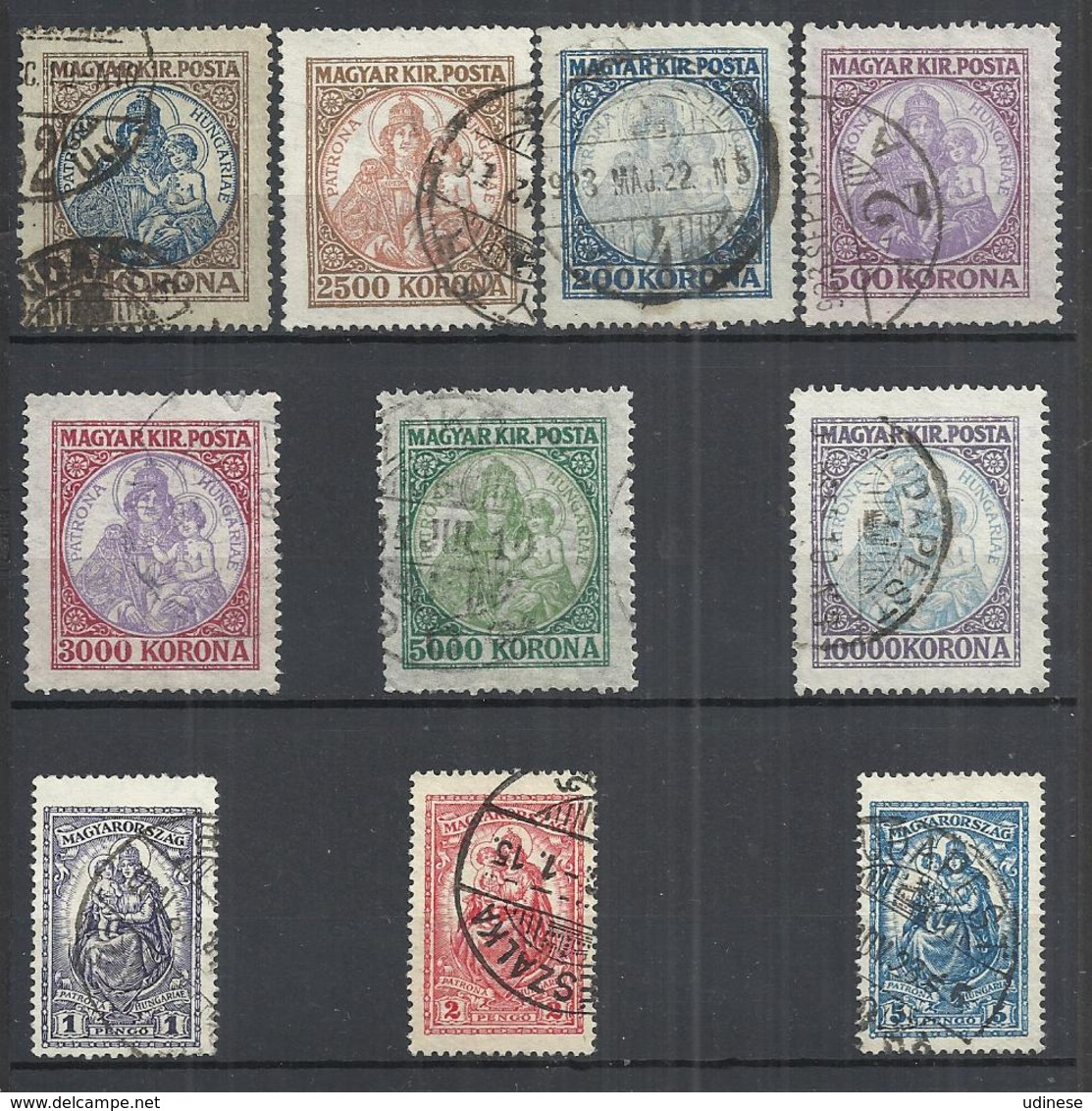 TEN AT A TIME - HUNGARY 1921-1925 - MADONNA AND CHILD - LOT OF 10 DIFFERENT - USED OBLITERE GESTEMPELT USADO - Oblitérés