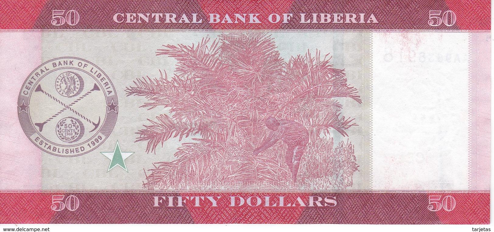 BILLETE DE LIBERIA DE 50 DOLLARS  DEL  AÑO 2016 EN CALIDAD EBC (XF)  (BANKNOTE) - Liberia