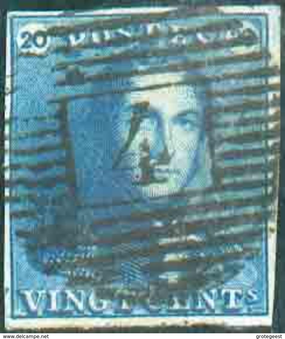 N°2 - Epaulette 20 Centimes Bleu-FONCE, TB Margée, Obl. P.4 ANVERS Idéalement Apposée. - Superbe  - 13410 - 1849 Epaulettes