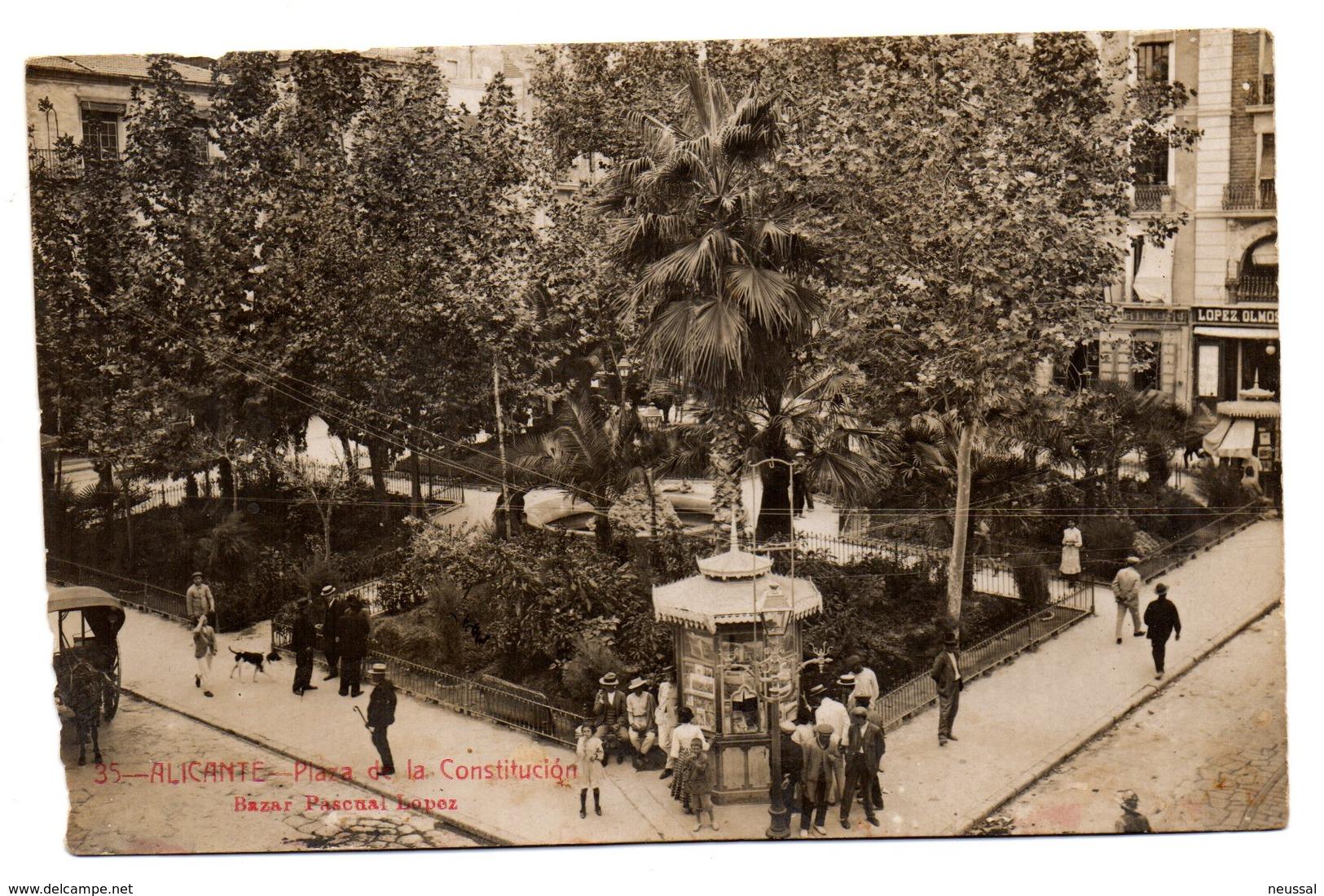 Tarjeta Postal Alicante -plaza De La Constitucion Circulada 1915 - Alicante