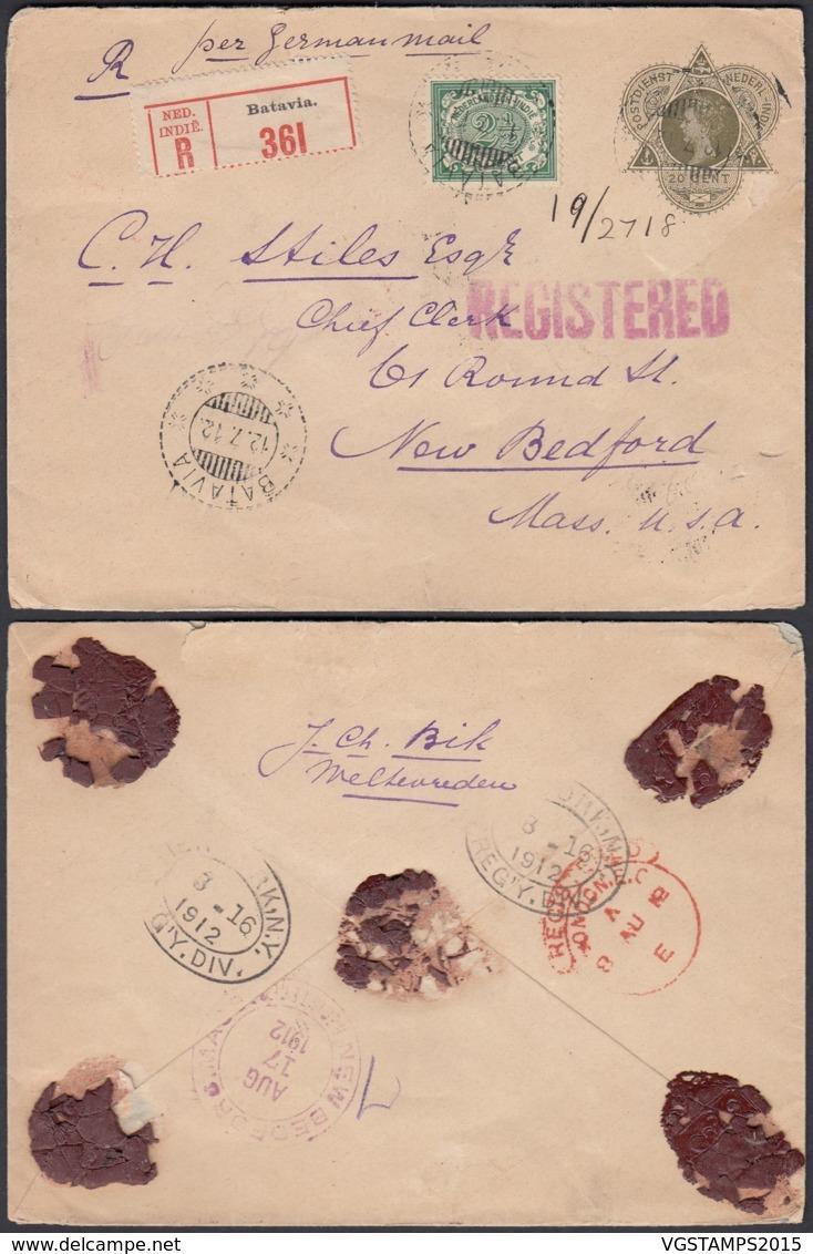 Indes Néerlandaises 1912 - Entier Postal Registered Vers New Bedford- Mass-USA  Ref. (DD) DC-MV-292 - Indes Néerlandaises