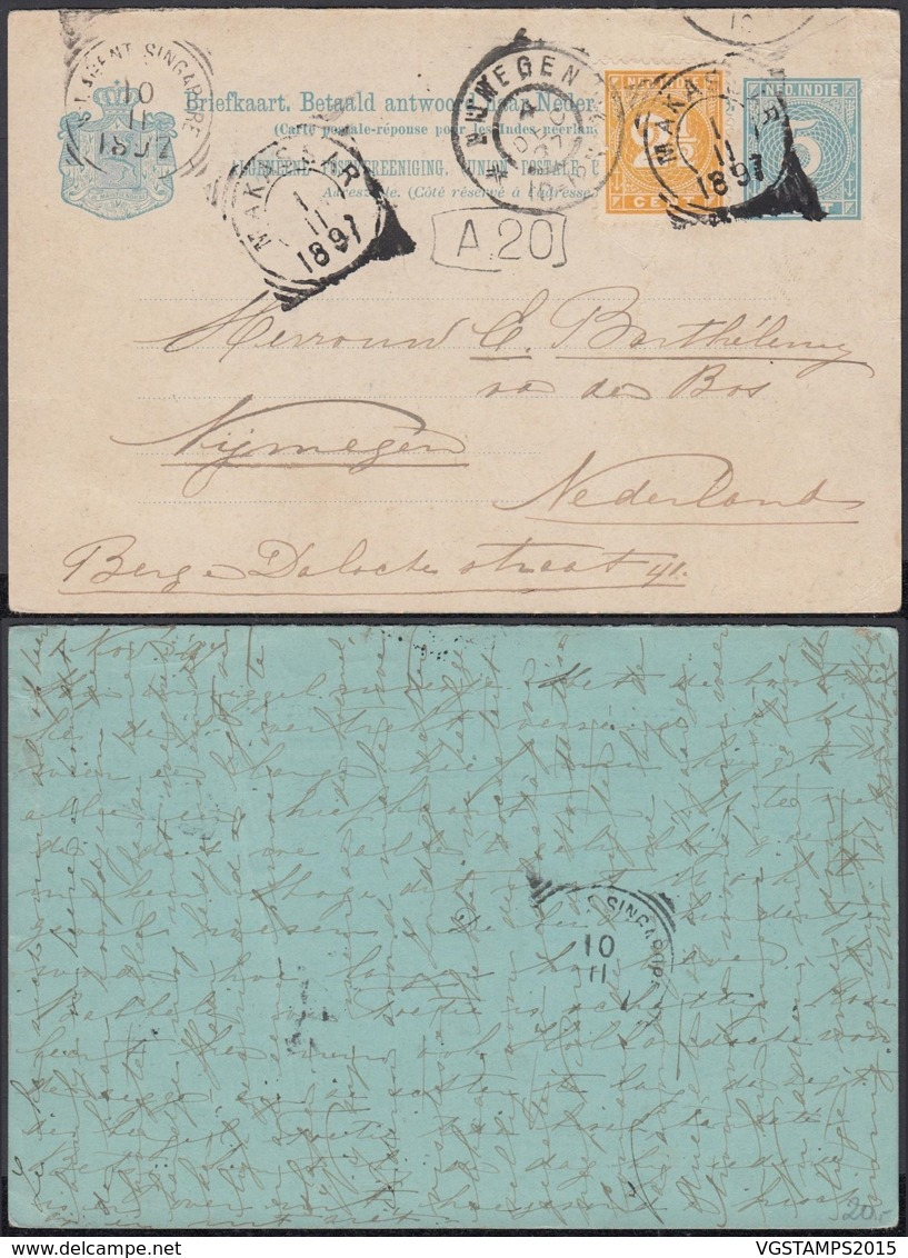 Indes Néerlandaises 1897 - Entier Postal De Makassar Vers  Nijmegen -Pays Bas  Ref. (DD) DC-MV-333 - Indes Néerlandaises
