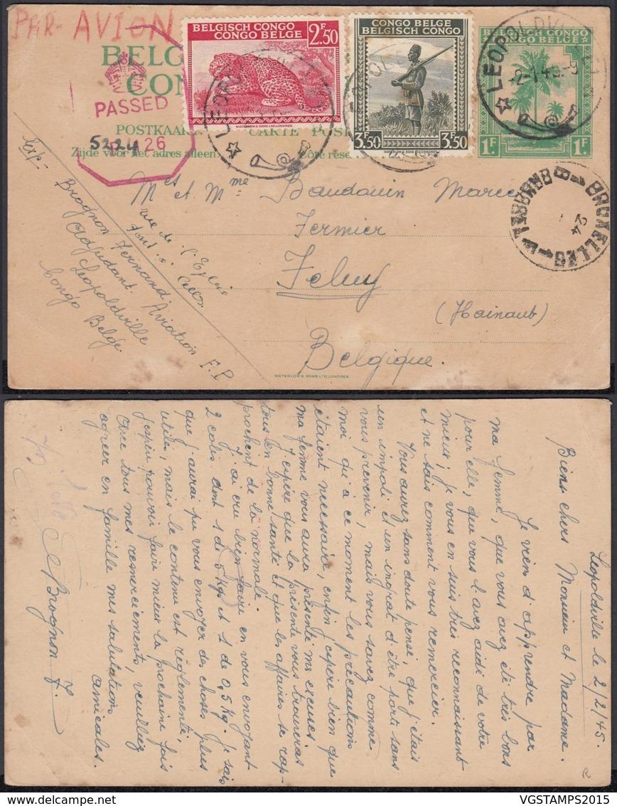 Congo Belge 1945- Entier Postal Par Avion De Léopoldville Vers Feluy-Belgique.  Ref. (DD)  DC-MV-336 - Congo Belge - Autres