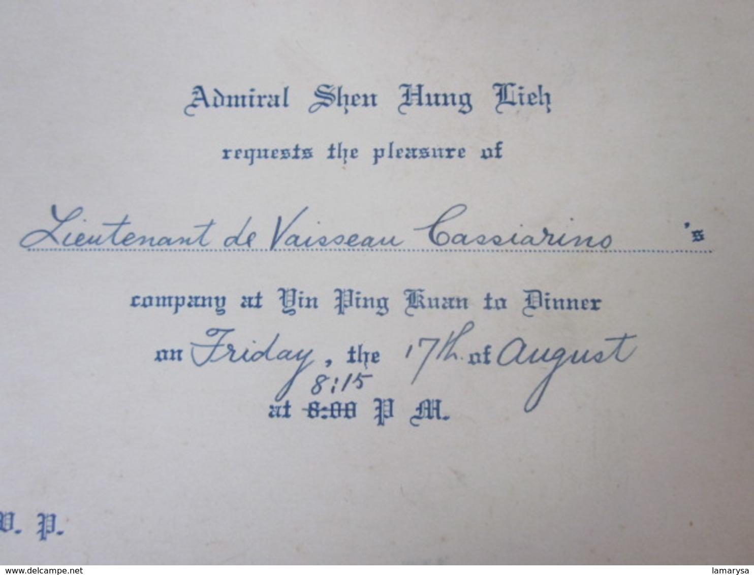 Militaria ADMIRAL SHEN HUNG LIEH REQUIEST TO PLEASURE OF LIEUTENANT DE VAISSEAU CASSIARINO CIE VIN PING KUAN Faire Part - Faire-part