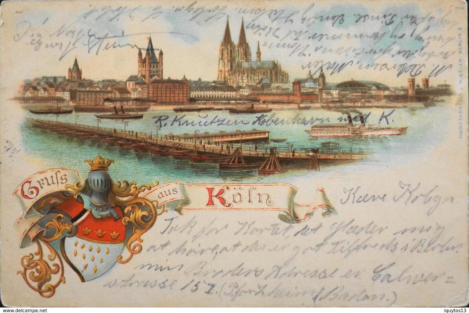CPA. - Cologne Est Une Ville âgée De 2000 Ans. Elle Enjambe Le Rhin Et Se Trouve En Allemagne De L'Ouest - Daté 1899 - Koenigswinter
