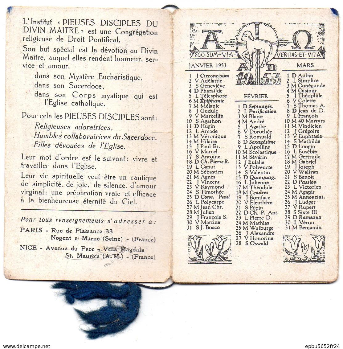 """Calendrier (6,1 X 10 ) ANNO DOMINI 1953  Institut """"PIEUSES DISCIPLES DU DIVIN MAITRE """" - Calendriers"""