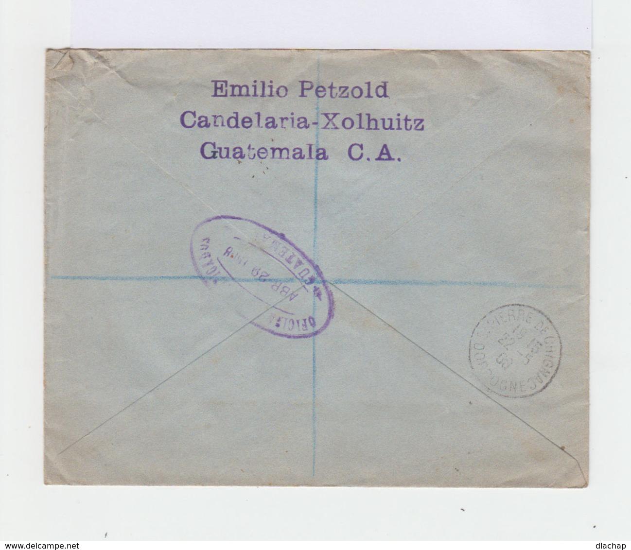 Sur Enveloppe 2 Timbres Guatemala 75 C. Violet Et Noir Et 50 C. Brun Et Rouge. CAD 1908 Violet Xolhuitz. (738) - Guatemala