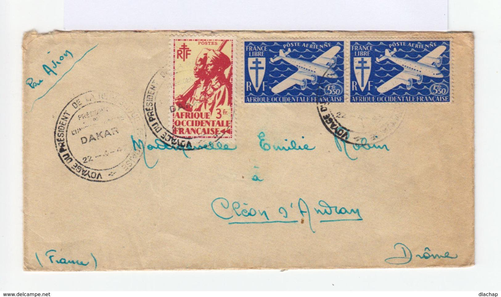 Sur Enveloppe Par Avion Paire Poste Aérienne France Libre Et Un Tirailleur Sénégalais 3 Fr. CAD 1947 . (739) - A.O.F. (1934-1959)