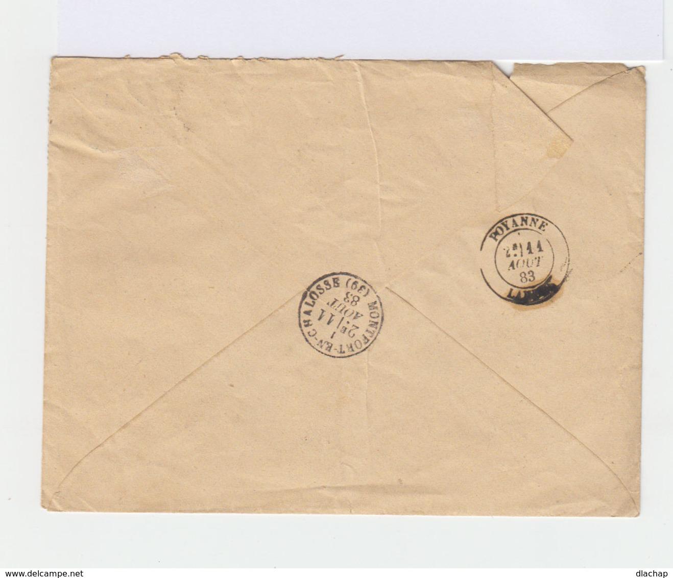 Sur Enveloppe Deux Types Sage: 35 C. Violet Noir Et Orange Et 5 C. Vert. CAD 1883 Montfort En Chalosse. (740) - Marcophilie (Lettres)