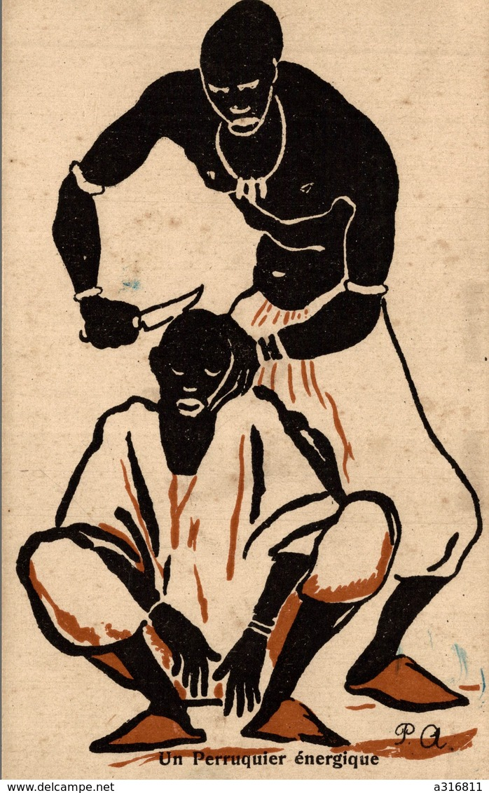 CPA - Un Pérruquier énergique - SOUVENIR DE L'EXPOSITION COLONIALE PARIS 1931 - Edit. Du LOUP - Scans Recto-Verso - Ausstellungen