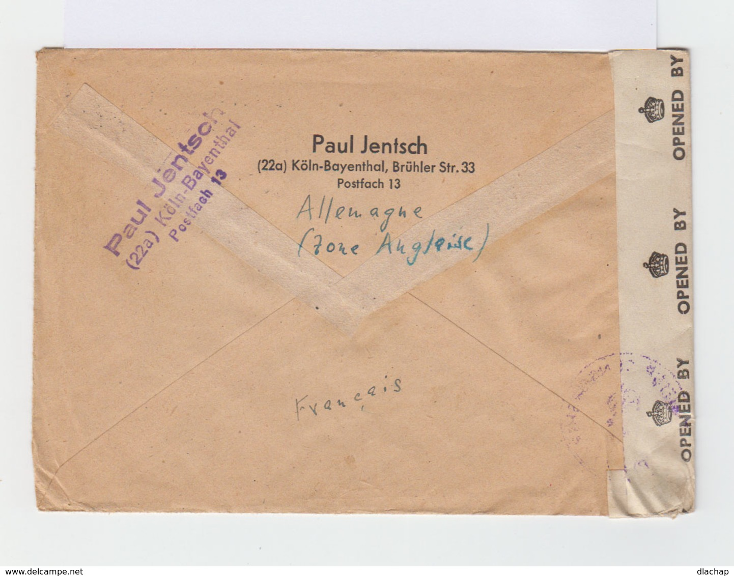 Sur Enveloppe 4 Timbres CAD Köln Bayenthal 1947. Tampon English Censorship Germany. (742) - Zone Anglo-Américaine