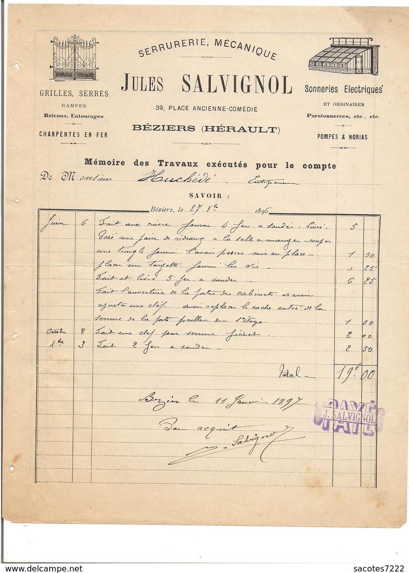 21 FACTURES BEZIERS :Poudre,quincaillerie Mercerie Bois Serrurerie Transport Bijouterie électricité Wagons Foudres.... - France