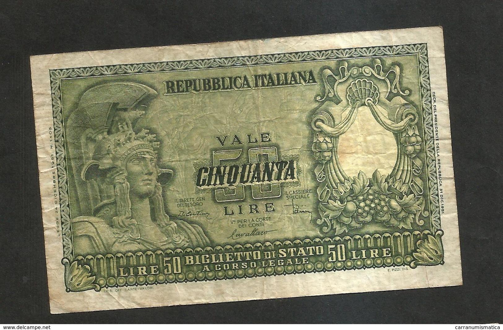 REPUBBLICA ITALIANA - 50 Lire ITALIA ELMATA - ( Firme: Di Cristina / Cavallaro / Parisi - Decr: 31-12-1951 ) - [ 2] 1946-… : Repubblica