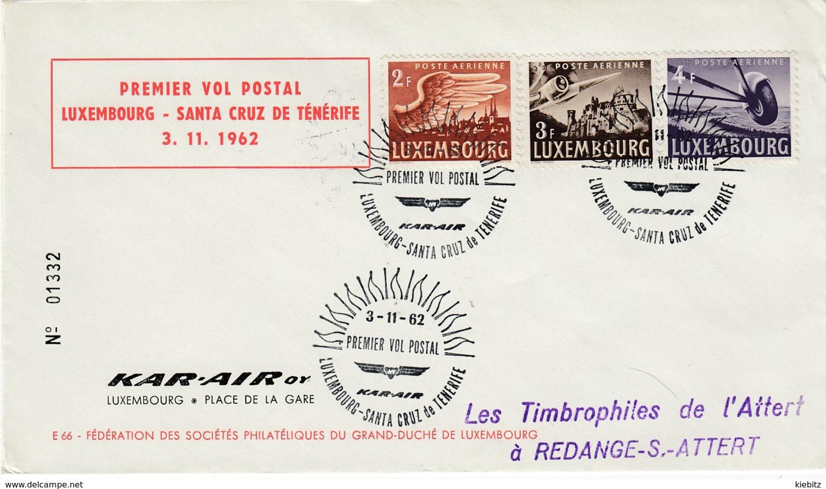 LUXEMBURG 1962 - MiNr:404-406 Erstflugbeleg Nach Teneriffa. - Briefe U. Dokumente