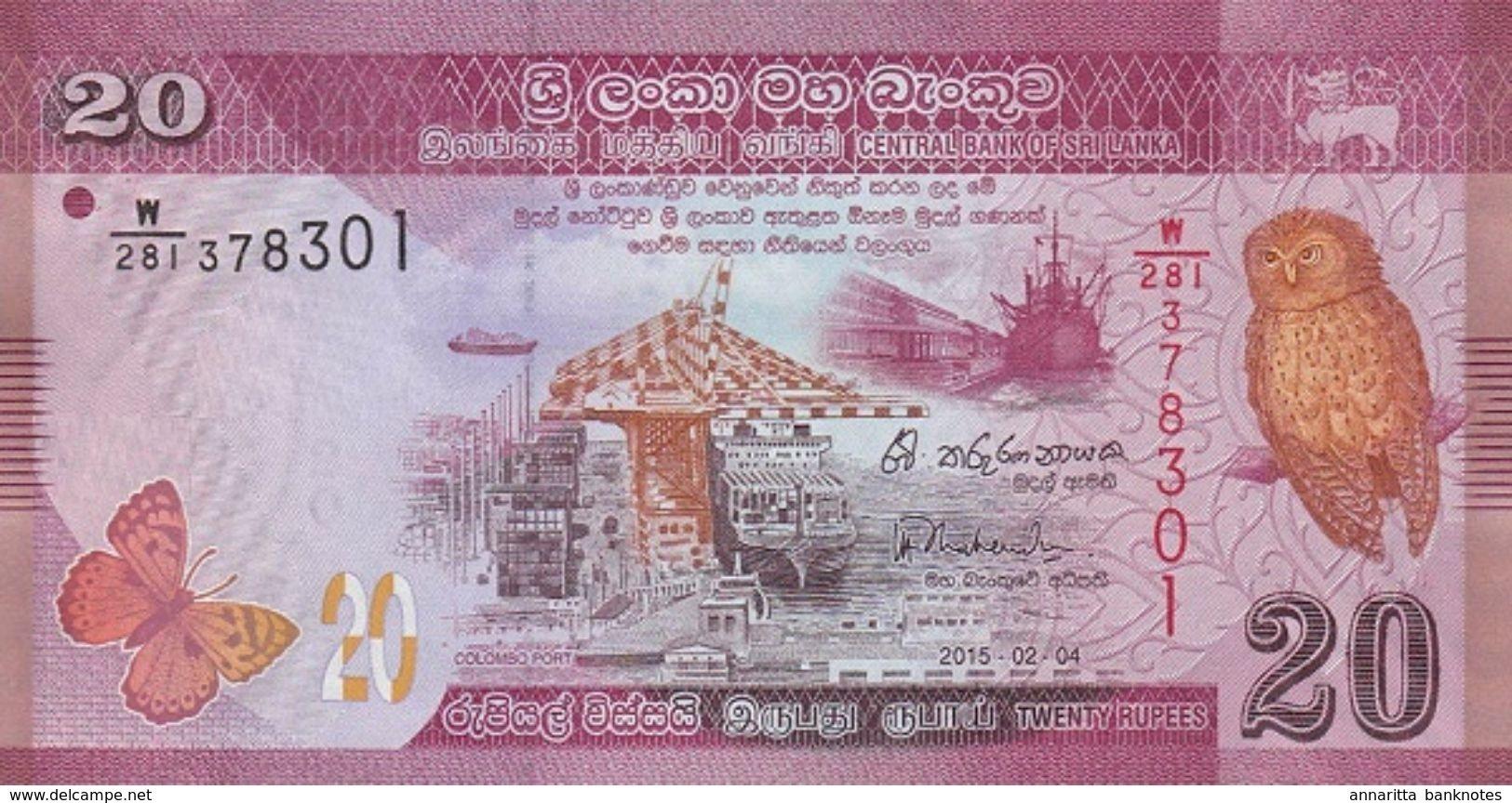 SRI LANKA 20 RUPEES 2015 P-123b UNC [LK123c] - Sri Lanka